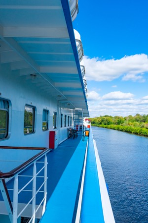 propulsion: view of the side of a river cruise ship floats on the channel Stock Photo