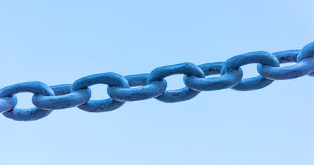 iron chain: old painted powerful iron chain link fence
