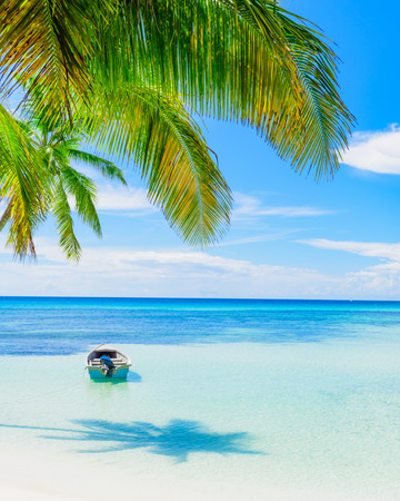 Boat on a tropical beach sea shore tied