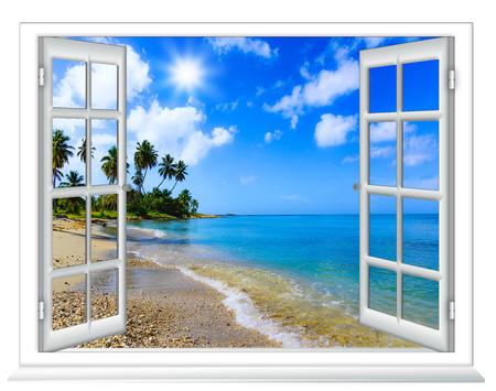 화창한 여름 날의 섬에 창에서 해변보기
