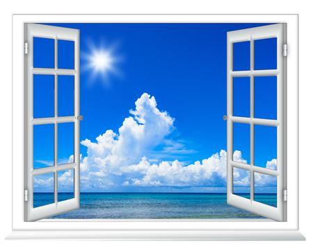 Uitzicht op zee vanuit het raam op het eiland zonnige zomerdag