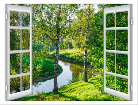 uitzicht vanuit het raam in het lichaam van water en de boom in de zomer Stockfoto