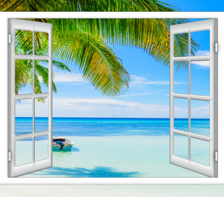 open window view of the sea good weather summer Stok Fotoğraf - 68130028