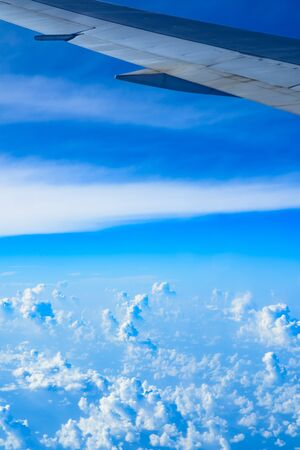 trip over: view of planet earth from an airplane through the window Stock Photo
