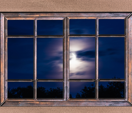 lucid: view from the window night landscape large moon