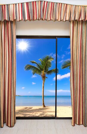 summer sunny day the view from the window on the sea beach with palm tree