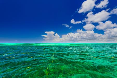 모래 해변과 진정 푸른 카리브 바다 서핑 도미니카 공화국 스톡 콘텐츠