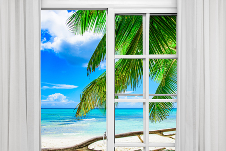 open window with access to the beach view of palms