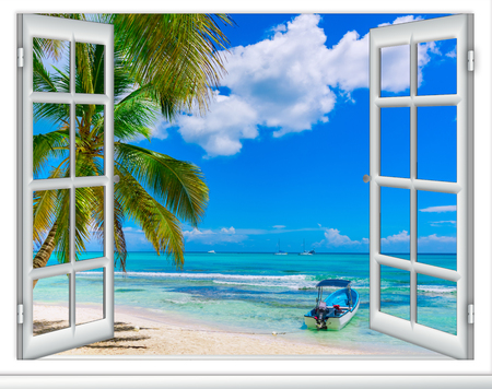 open window view of the sea good weather summer Caribbean Dominican Republic