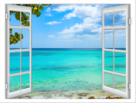 open window view of the sea good weather summer