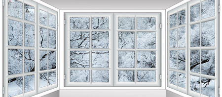 view from the window of a winter forest Stockfoto