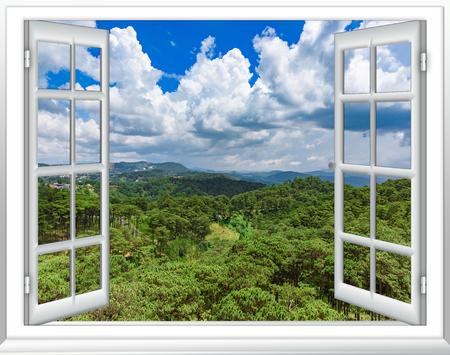 Uitzicht vanuit het raam vanaf de hoogte van tropische groene jungle blauwe lucht met wolken, Vietnam