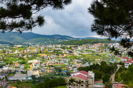Vietnam Dalat city panoramic view from the hill