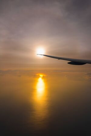 Flying in the sky and the sea of clouds