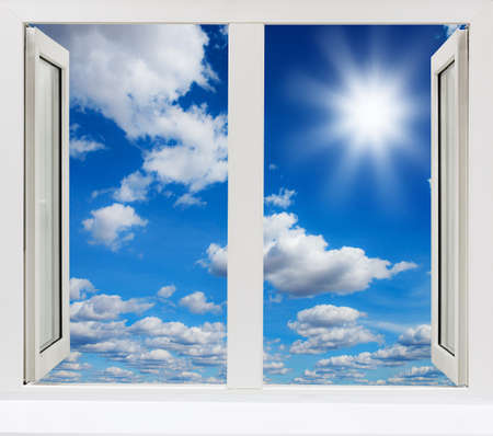 open window view of the sky with clouds sunrise Banque d'images