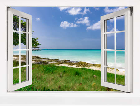Ocean view from the window on the island of sunny summer day Banque d'images