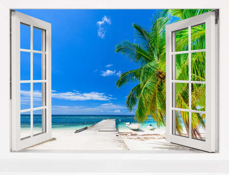 summer sunny day the view from the window on the sea beach with tree Reklamní fotografie