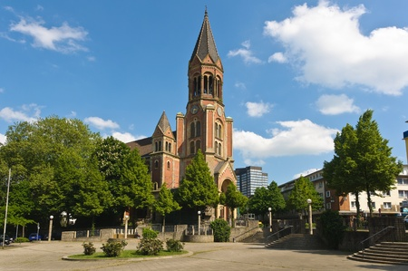 Side view of Kreuzeskirche in Essen, Germany Stock Photo