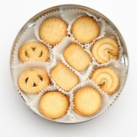 Overhead view of the cookies in a circle shaped container over light gray background Stock Photo - 10801207