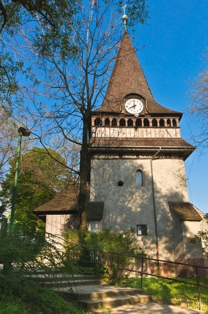 Side view of the Bell tower of the church of Avas in Miskolc, Hungary Stock Photo - 10801243