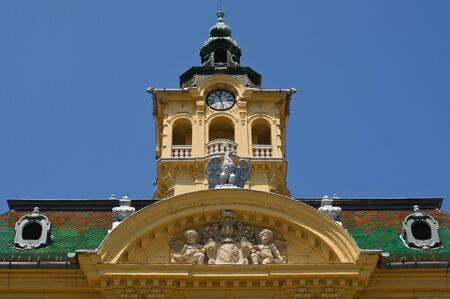 szeged: Tower and facade ornaments of town hall in Szeged, Hungary