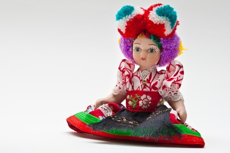 Sitting matyo doll over gray background Stock Photo