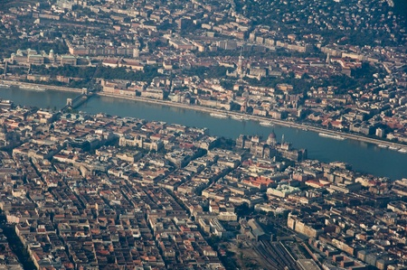 Aerial shot of the central part of Budapest