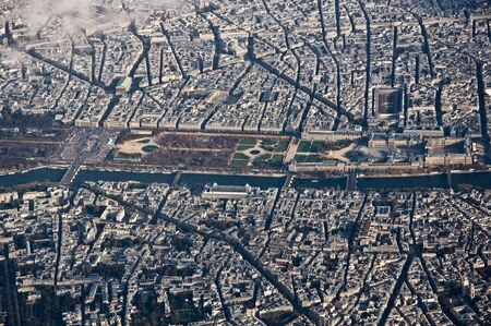 Louvre museum and its surroundings from the air in Paris, France Stock Photo