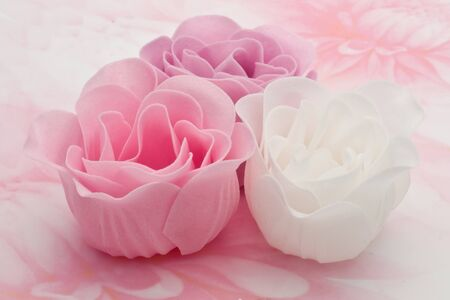 Soap roses with pink background