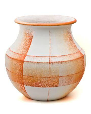 Orange textured pottery isolated on white
