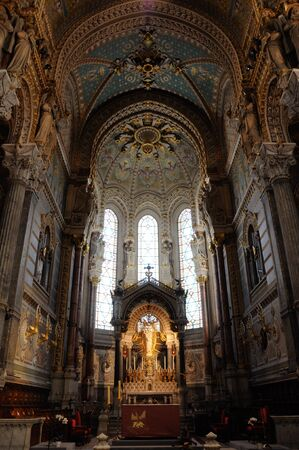 Basilica of Lyon other side inside altar view