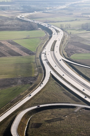 Hungarian m0 highway aerial view