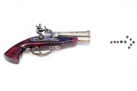 lighter gas: Gas en forma de pistola encendedor con la flecha pimienta aislado en blanco Foto de archivo