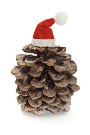 Pine cone with Santa hat isolated on white Stock Photo