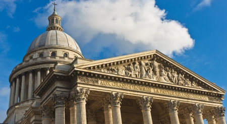 Top of the facade of the pantheon in Paris, France