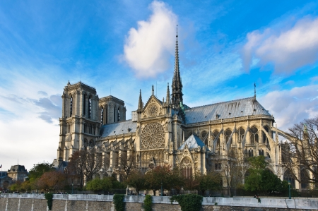 Side view of the Notre dame in Paris, France