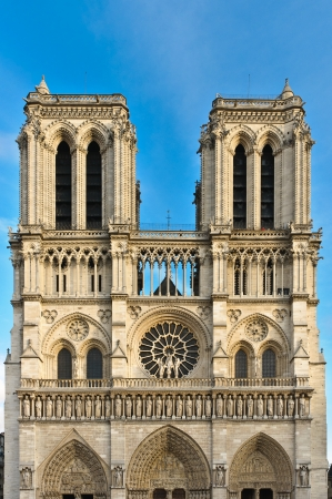 Facade of Notre Dame in Paris, France Stock Photo