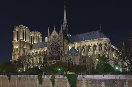 Side of the Notre dame in Paris at night