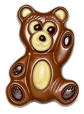Waving chocolate bear isolated on white Stock Photo