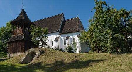South view of the reformed church in Zubogy, North-east Hungary, during summer Stock Photo