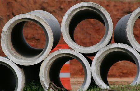 Stack van concrete Rioolbuizen Stockfoto