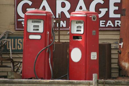Two old vintage gas pumps Stock Photo - 407660