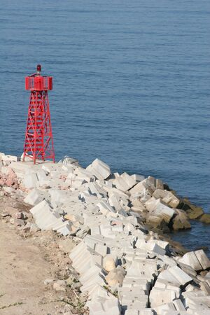 Warning beacon on rocky coast Stock Photo - 408938