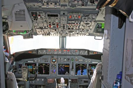 Cockpit in modern airliner Stock Photo - 408933