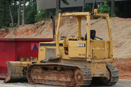 Bulldozer in road construction