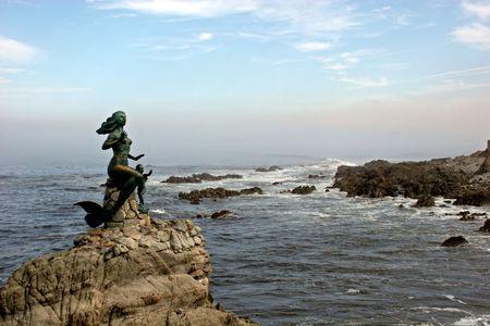 Mermaid statue off coast of Mazatlan photo