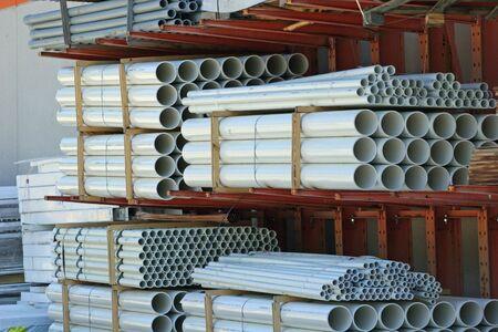 Pila de tubos de PVC  Foto de archivo - 449834