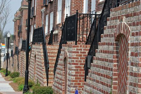 townhomes: Rows of steps in front of townhomes