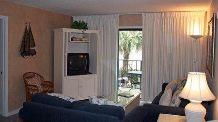 Living room in luxury beachside condo Stock Photo