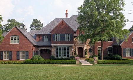 Nice brick house with large lawn Stock Photo - 475068